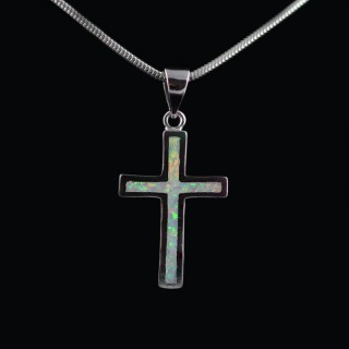 Silver cross with Opal